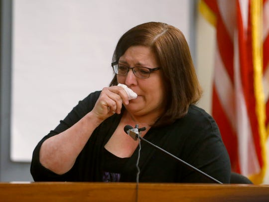 Neighbor Theresa McConnell gets emotional while testifying during the Michelle Lodzinski murder trial. Lodzinski is charged with the murder of her 5-year-old son, Timothy Wiltsey, more than 20 years ago. The trial is before Superior Court Judge Dennis Nieves at the Middlesex County courthouse in New Brunswick.