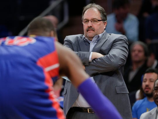 Detroit Pistons  coach Stan Van Gundy watches his team play during the first half of an NBA basketball game against the New York Knicks on Wednesday, April 15, 2015, in New York.