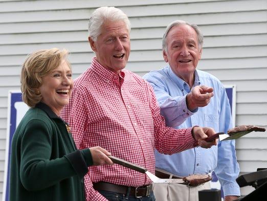 Bill and Hillary Clinton were guests at Sen. Tom Harkin's final Harkin Steak Fry on Sunday, Sept. 14, 2014, in Indianola, Iowa.
