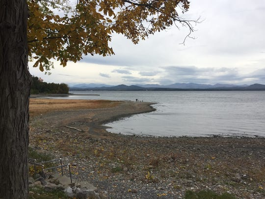 Lake Champlain has receded enough to leave a wide section of Charlotte Beach dry.