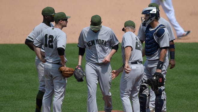 Third baseman Chase Headley (12) was back in the Yankees lineup Monday against the Orioles.