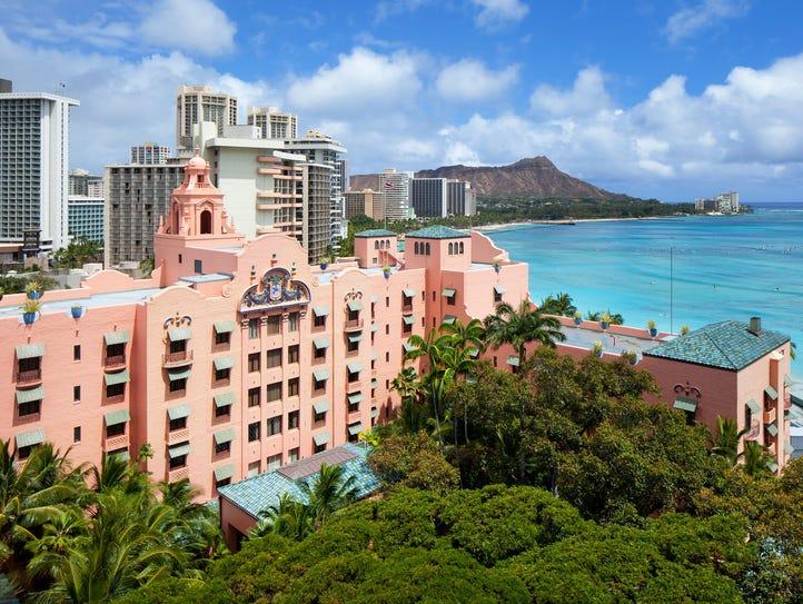 The historic Royal Hawaiian sits on Waikiki Beach on