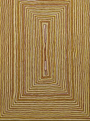 "Tjumpo Tjapanangka's painting ""Wati Kutjarra at the Water Site of Mamara"" is part of the exhibit ""No Boundaries: Aboriginal Australian Contemporary Abstract Painting"" at Cornell University's Herbert F. Johnson Museum."