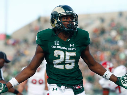 CSU running back Marvin Kinsey Jr. celebrates scoring a touchdown on a run against Fresno State last week.