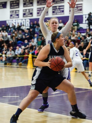 Manasquan's Victoria Galvan tries to go to the basket against Grace Stant of Rumson-Fair Haven on Friday in Rumson.