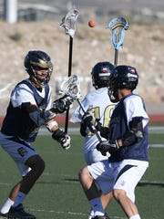 Coronado Lacrosse players work on drills during practice.