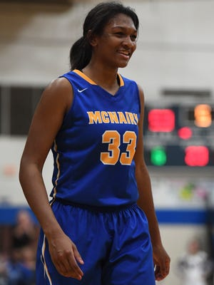 McNairy's Khyla Wade-Warren helped the Lady Bobcats to a win over South Side during the district 14-AA Girls Championship game, Monday, Feb. 19. McNairy defeated South Side, 70-55, to become the District 14-AA Girls Champion.