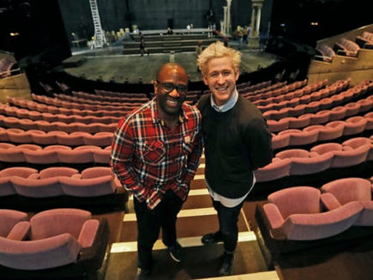 Lucian Msamati and Adam Gillen, right, the stars of the theatre play Amadeus, pose for a photograph in London, Monday, Jan. 30, 2017. Britain's National Theatre has a sold-out hit with a revival of Peter Shaffer's play about bad-boy genius Wolfgang Amadeus Mozart, played by Gillen, and his jealous rival Antonio Salieri, played by Msamati, composer to the 18th-century Viennese court.