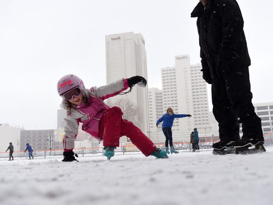 Six-year-old Ashlyn Guber takes a spill while learning