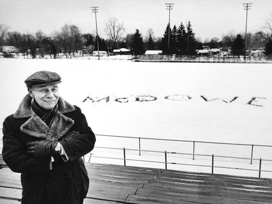 Retiring Clarencville Supt. David McDowell stands before the field athletic field that was named in his honor in this Redford Observer photo published Jan. 26, 1984.