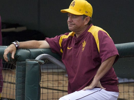 ASU coach Tim Esmay watches his team play a tournament game against Gonzaga at Surprise Stadium on Feb. 28, 2014.