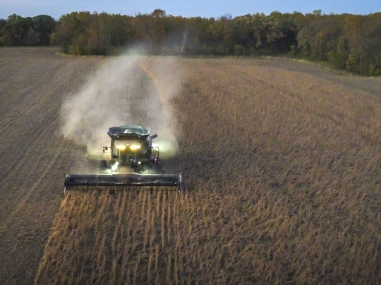 Roger Zylstra harvests soybeans at one of his fields near Kellogg, Iowa, Wednesday, Oct. 18, 2017. As of Monday, 32 percent of the soybean crop had been harvested, the lowest percentage harvested by this date since 1985.