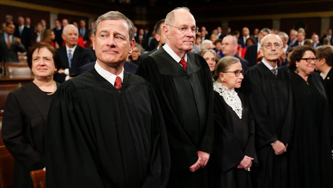 Chief Justice John Roberts attends President Obama's 2016 State of the Union address with fellow justices.