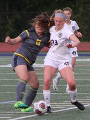 Country Day sophomore Sophia Wiegers (23) battles for