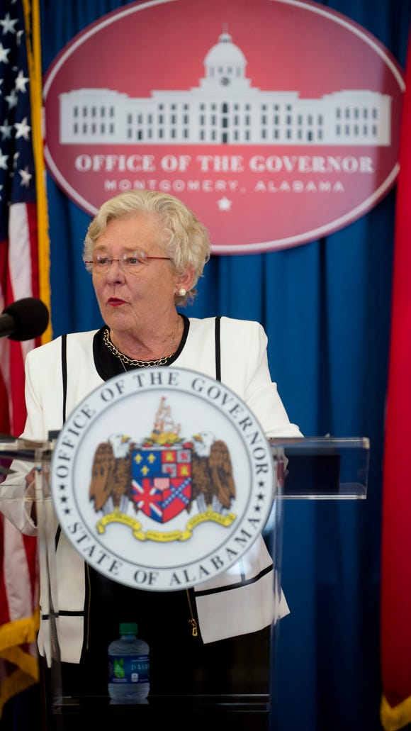 Governor Kay Ivey speaks during a press conference held on her 101st day as Governor of Alabama on Thursday, July 20, 2017, in Montgomery, Ala.