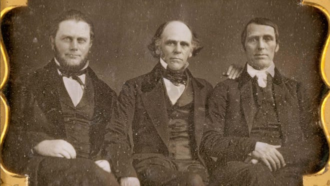 Daguerreotype of Cincinnati abolitionists, from left, Edward Harwood, William Brisbane and Levi Coffin made by J. P. Ball of Cincinnati in 1853.