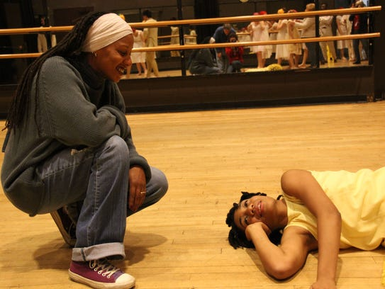 Marti Gobel (left) directs Alessandria Rhines in Tarell