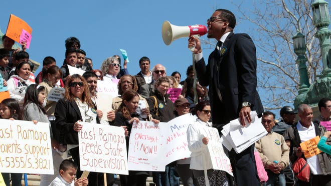 The Rev. Weldon McWilliams IV leads a rally in support of the East Ramapo school oversight bill at the state Capitol on April 28. About 350 people from the East Ramapo school district traveled to Albany to push lawmakers to vote on the bill.