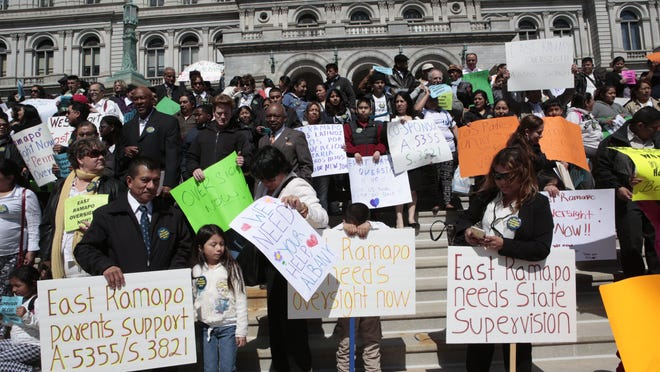 More than 350 people attended an April 28 demonstration in Albany to support a bill that would provide state oversight for the East Ramapo school district.