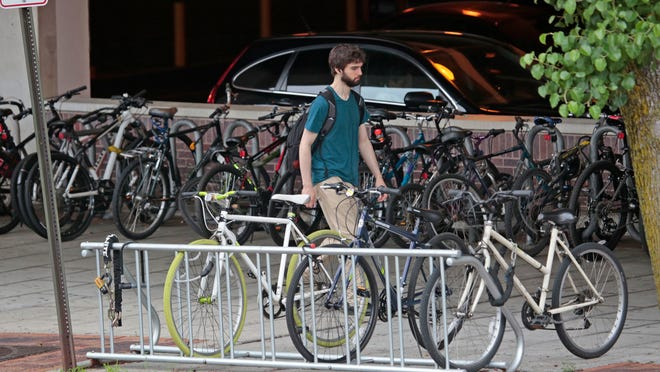 Bike racks near the Metro-North train station in White Plains.