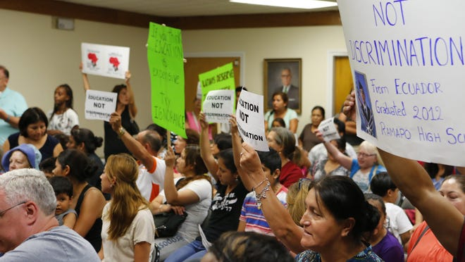 Protesters filled an East Ramapo Central School District Board of Education meeting in Spring Valley on Sept. 2, 2014, a month after Superintendent Joel Klein made remarks about Latino students that upset many in the community.