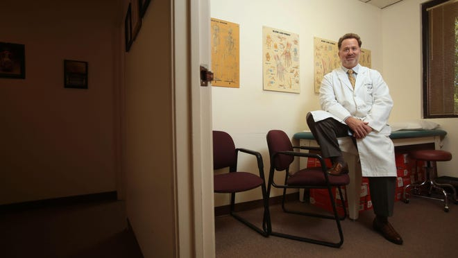 Douglas J. Roger M.D. at his medical office in Rancho Mirage on Tuesday.
