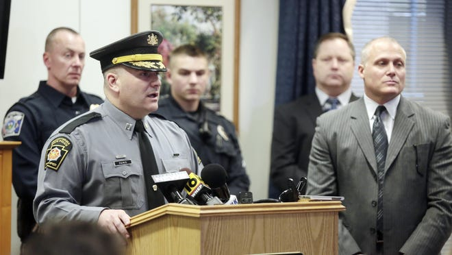 Pennsylvania State Police Captain Christopher Paris answers questions during a press conference about the disappearance of federal judge Edwin Kosik, 91, in the William J. Nealon Federal Building and U.S. Courthouse in Scranton, Pa., on Thursday, March 30, 2017. (Jake Danna Stevens / The Times-Tribune, Via AP)