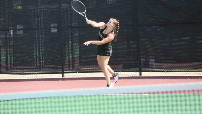 Buhler's Brittany Teufel serves the ball during the Hesston Invitational on Aug. 27.