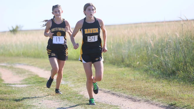 Haven's Taylor Hoskinson won the girls 5K race Thursday at the Pretty Prairie Invitational with a time of 24:54.