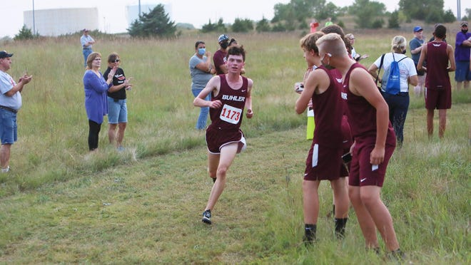 Buhler's Tanner Lindahl won the Buhler Invitational on Thursday at the Westar/Prairie Ridge Park Cross Country Course in Hutchinson.