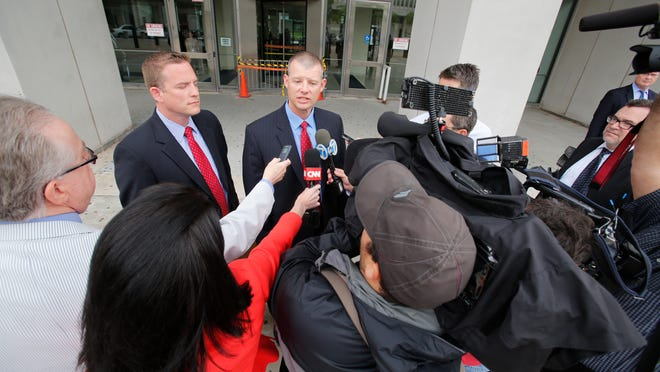 Lacey Spears' attorneys David Sachs and Stephen Riebling meet with the media Wednesday after a pretrial meeting at Westchester County Courthouse in White Plains.