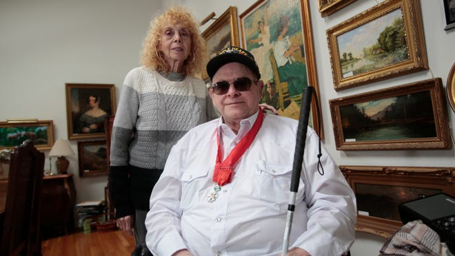 Sydney Germansky of New City and his wife Joan Kay at their home on Jan. 20, 2015. Germansky fought in WWII in the United States Army and along side of the French Resistance.