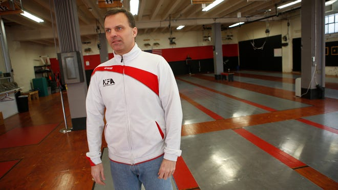 John Scarpino, owner of the Nyack Fencing Academy, will have to pull up the floor to repair water damage after a frozen water pipe burst.