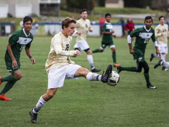 Salesianum's Bryce Wallace (18) scored a goal in a