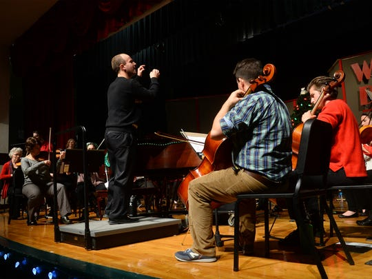 The Steve Olson Orchestra rehearses for a concert at CMR.