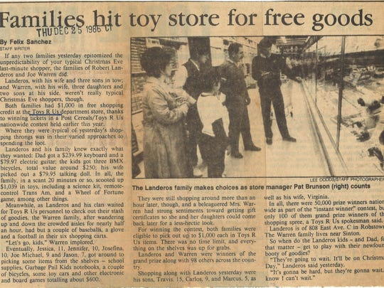"Clipping from Dec. 25, 1986 Corpus Christi Caller-Times about shopping spree winners at Toys ""R"" Us."