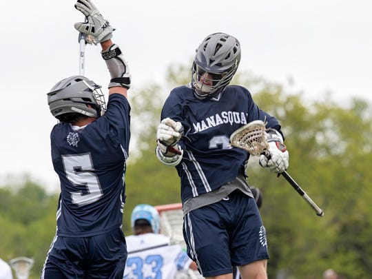 Manasquan Boys Lacrosse beats CBA for Shore Conference Tournament Title on May 12, 2018 at Monmouth University.
