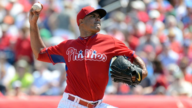 Phillies pitcher Miguel Alfredo Gonzalez (75) throws a pitch in the third inning  of the spring training game March 15 against the Boston Red Sox at Bright House Field. Credit: Jonathan Dyer-USA TODAY Sports