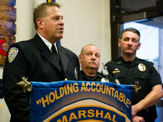 Lafayette City Marshal Brian Pope speaks during a press conference at the City Marshal's Office in downtown Lafayette, La., Wednesday, Oct. 7, 2015.