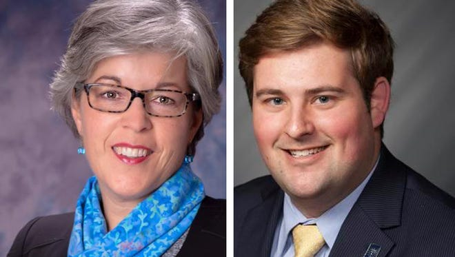 Michele Thomas (left) and Matt Gentry are candidates for Lebanon's 2015 mayoral race.