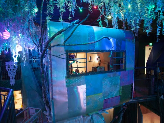 Within the interior of the slightly creepy Meow Wolf