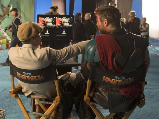 Taika Waititi and Chris Hemsworth on the set of 'Thor: