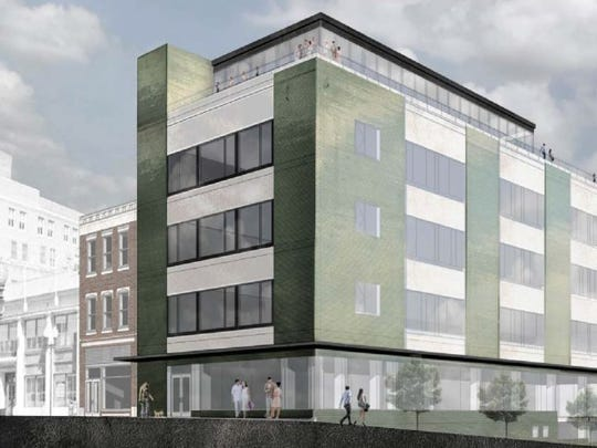 A rendering of the planned redesigned former KUB headquarters building, which is being acquired by the Tombras Group. The Knoxville-based advertising and public relations firm is planning to move into the 54,000 square-foot building. (HATCHER-HILL PROPERTIES/SPECIAL TO THE NEWS SENTINEL)
