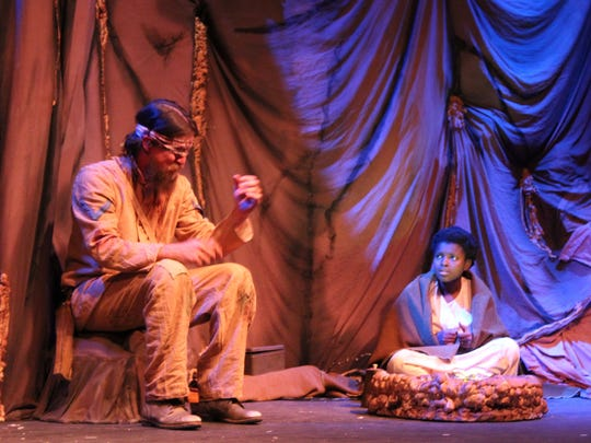 """Marie Baptiste and Jordan Wilson in a scene from Jeff Lindsay's """"The Cave"""" at Theatre Conspiracy."""