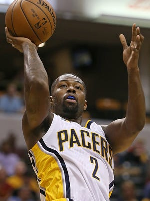 Indiana Pacers guard Rodney Stuckey (2) scores two points as he falls away from the basket during first half action against the Chicago Bulls, Banker's Life Fieldhouse, Indianapolis, Thursday, October 6, 2016.