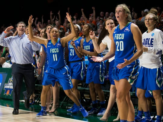 The FGCU bench reacts to a controversial no-call during