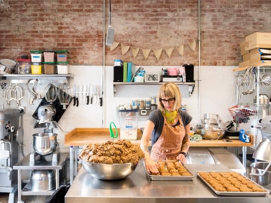 Meg Parrish prepares chocolate chip cookie dough at