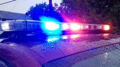 Flashing police lights.