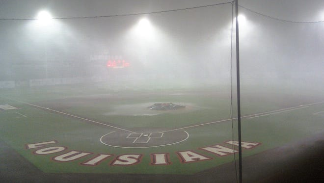 Lightning and a torrential downpour Thursday forced the Ragin' Cajuns to suspend their game against the UL Monroe Warhawks.