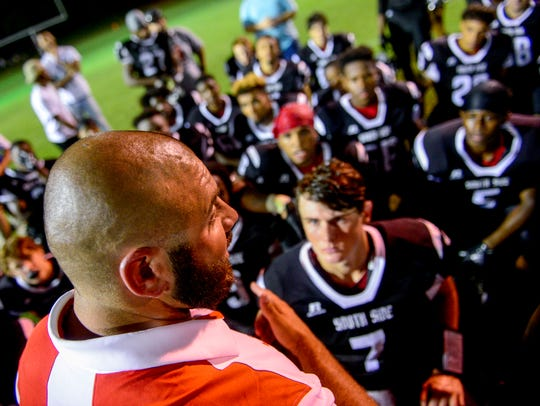 South Side head coach Tyler Reeder speaks to his team